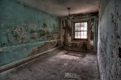 Room with a view (and a bench) (AJ Photographic Art) Tags: urbex urbanexploration decay abandoned room window bench newengland newenglandphotographer statementalhospital hdr color highresolution canon