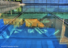 Reflections in blue (Salva del Saz) Tags: plaza blue espaa reflection valencia azul canon reflections square spain roman powershot reflejo archaeological remains hdr islamic pro1 reflejos restos islamico almoina powershotpro1 visigothic arqueologicos abigfave visigodos salvadordelsaz salvadelsaz goldenphotographer
