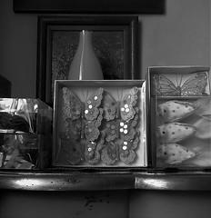 Uccelli e farfalle sfavillanti (Gilbert-Noël Sfeir Mont-Liban) Tags: uccelli farfalle sfavillante pasqua pâques easter oiseaux nidi nids nests birds papillons butterflies balckandwhite noiretblanc bw paillettes scintillement sparkling ornements ornaments décoratif decorative decorativo crafts