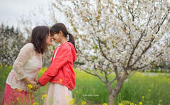 After School Care (qqzuo) Tags: motheranddaughter outdoor spring flower kid girl mother daughter sister orchard