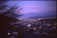 (✞bens▲n) Tags: leica m4 velvia 50 summilux 50mm f14 film analogue slide japan nagano bessho evening dark mountains houses