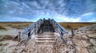 Stairway to a sky of freshly cut clouds.