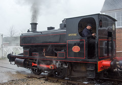 LWR Andrew Barclay 0-4-0ST 'Spitfire' leaving Ludborough in pouring rain on 2nd April 2018. (Pam & Bryan) Tags: lincolnshire steamlocomotive lwr andrewbarclay saddletank ludborough