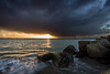 Powerful sunset at Brouwersdam (Rob Schop) Tags: f11 wideangle zonsondergang sunset sonya6000 nederland outdoor weather clouds groothoek sun beach strand motion samyang12mmf20 bui seascape a6000 sea wolken brouwersdam