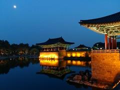 Anapji at Night (Cassan Weish) Tags: anapji pond night view day wolji donggung gyeongju history historical light lights evening yellow old moon samsung phone