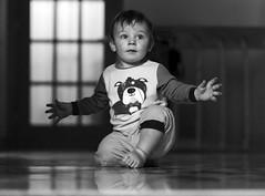 Look at me (Danny VB) Tags: baby boy bébé garçon lookatme imalmoststanding blackandwhite noiretblanc mono monochrome canon 6d pyjama lightandshadow light shadow dannyboy firstyear oneyear oneyearold