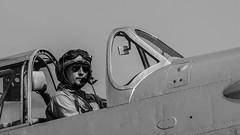 Pilot of F+W C-3605 Schlepp - C-509 (HB-RDH) (Ian. J. Winfield) Tags: duxford iwm imperialwarmuseum airshow plane aircraft aeroplane cambridgeshire flight flying display airfestival swiss schlepp c3605 fw eidgenoessischekonstruktionswerkstaette farnerwerke c509 black white monochrome blackandwhite pilot portrait