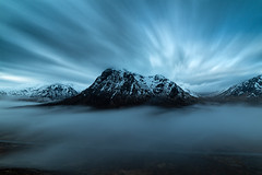 blue hour and the great herdsman (akh1981) Tags: scotland manfrotto mountains mist beautiful blue hour morning amateurphotography wideangle walking clouds countryside moody landscape longexposure outdoors rocks uk glencoe highlands