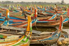 Boats waiting for sunset (Kathy~) Tags: myanmar burma boat mandalay colorful alot many wood 15challengeswinner instagram