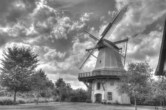 Windmill of 1878 (wedding mill) (HDRforEver) Tags: hdr photomatix owl ostwestfalen nrw nordrheinwestfalen windmühle windmill germany deutschland clouds wolken sky himmel new interesting black white bw august nature natur building mühle mill old 19th century summer sommer cloud