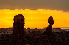 Desert Sunset (Karen_Chappell) Tags: moab usa travel utah sunset orange nature evening landscape scenery scenic park nationalpark archesnationalpark silhouette rocks sandstone clouds sky desert