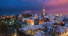 Tallinn. Harju, Estonia (Ed.Moskalenko) Tags: tallinn reval estonia harju europe architecture medieval wall church winter snow travel tourism cityscape city clouds night