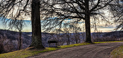 8R9A0476-78Ptzl1scTBbLGER (ultravivid imaging) Tags: ultravividimaging ultra vivid imaging ultravivid colorful canon canon5dm3 clouds road rural latewinter trees lateafternoon evening twilight pennsylvania pa panoramic bench scenic sky filigree