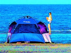 Day camp on the sea (thomasgorman1) Tags: canon zoom zoomed woman colors colorized treated processed tent cortez baja mx mexico beach tide ocean shore looking drink pineapple