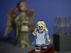 Alice got lost on her last trip to Wonderland (N.the.Kudzu) Tags: tabletop lego miniature aliceinwonderland angel figurine canondslr lensbabyburnside35