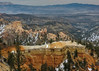Bryce Canyon Series #18 (Patti Deters) Tags: brycecanyonnationalpark utah southwest bryce canyon geology landscape red orange snow nationalpark sky spires hoodoos layers desert boulder erosion sandstone cliffs wilderness scenic formations winter dry eroded point daytime outdoors overlook vista columns day brown blue hazy outside usa rock valley sand geological stone hoodoo formation terrain