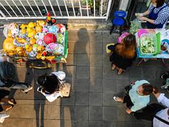 Thailand - Bangkok - Streetview (st3000) Tags: seasia southeastasia asia thailand bangkok ari lumix gm5 20mm travel ontop bts bridge downwards top street streetphotography vendor stall