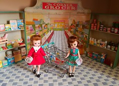 Twins Go Shopping (Retro Mama69) Tags: vintage toy tin diorama wolverine grocer corner doll american character betsy mccalls miniature supermarket grocery deluxe reading kitchen