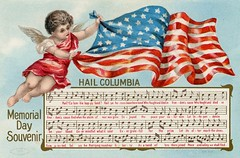 Memorial Day Souvenir—Hail Columbia (Alan Mays) Tags: ephemera postcards greetingcards greetings cards paper printed memorialday decorationday holidays memorials remembrance souvenirs music staffs musicalstaffs clefs notes songs hailcolumbia columbia putti putto cherubs cupid cupids wings patriotic flags stripes red white blue gold borders illustrations 1908 1900s antique old vintage typefaces type typography fonts taggart mwtaggart postcardpublishers newyorkcity ny newyork postcardseries series602