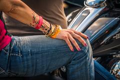 Biker bracelets (sniggie) Tags: budweiser harleydavidson bracelet chromehub fingernailpolish jeans motorbicycle motorbike tattoo