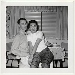 Vintage Snapshot : Couple in the Lapsitting Pose (CHAIN12) Tags: scanned photo vintage snapshot scan couple lap sitting sit sitter lapsitter flirty man sassy woman glasses cute seated 20thcntryphtslapsitcouplesassygirl2