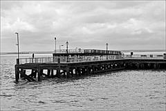 The Pier Monochrome (brianarchie65) Tags: monochrome blackandwhite blackandwhitephotos blackandwhitephoto unlimitedphotos ngc flickrunofficial flickruk flickr flickrcentral ukflickr thedeep pier statue lights premierinn rails railings riverhumber riverhull canoneos600d geotagged brianarchie65 clouds sky water