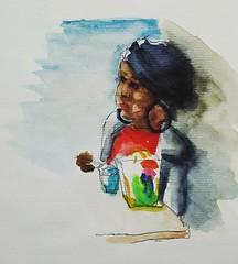 Croquis sur le vif. (cecile_halbert) Tags: dessin croquis personne portrait carnet aquarelle crayon pencil draw drawing sketch sketching character sketchbook urbansketching urbansketch croquissurlevif