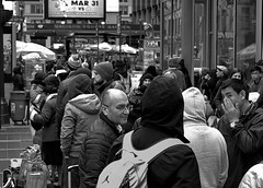 Wating for Discount Intercity Bus,  7 Avenue (sjnnyny) Tags: people streetscene nyc midtownmanhattan madisonsquaregarden busstop crowded d7500 micronikkor60mmf28daf stevenj sjnnyny urban city travelers