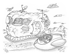 Astro Stealth (rod1691) Tags: myart art sketchbook bw scifi grey concept custom car retro space hotrod drawing pencil h2 hb original story fantasy funny tale automotive illistration greyscale moonpies sketch sexy