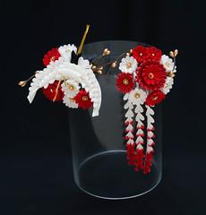 Crane with Red and White Chrysanthemum Tsumami Kanzashi Set (JapaneseSilkFlowers) Tags: tsumamikanzashi kanzashi geisha maiko crane tsuru japanese traditional hair ornament accessory kimono kitsuke red white wafuku geiko tsumami zaiku