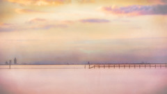 Mobile Bay (Photo with textures) (vovopics) Tags: sunset textured mobilebay minimalism landscape longexposure