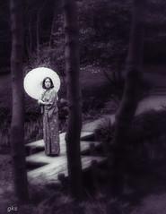 Moonlit Stroll, UBC, Vancouver. (gks18) Tags: nik lightroom creative kimono nature garden people canon vancouver japanese parasol trees