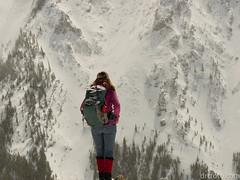 Natasha admiring view from Wasootch II (David R. Crowe) Tags: outdooractivities scrambling seasons time winter snow kananaskis alberta canada