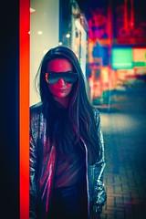 Laser City (Pawel Kozera) Tags: girl beauty young pretty portrait portraiture london photography slim fashion cute street city people portraits streetphotographybeautiful longhair citylife stylish modern portraitphotography nikon 50mm bokeh headshot natural cyberpunk bladerunner neons neon