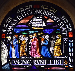 omnes isti congregati sunt (Margaret Agnes Rope for East Bergholt Convent, Suffolk, 1928) (Simon_K) Tags: kesgrave holy family ipswich suffolk eastanglia rc roman catholic rope artist stained glass windows diocese airship memory memorial