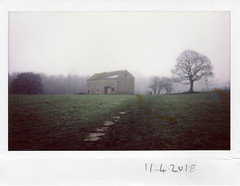 Wednesday 11th April (ronet) Tags: fujiinstax200wide thursdaywalk barn edale field instantfilm instax instax200wide kinderscout pasture peakdistrict utata:project=tw625