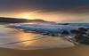 Sun Rising over the Headland - Seascape (Merrillie) Tags: daybreak sunrise cloudy australia nsw centralcoast clouds sea newsouthwales rocks earlymorning morning water landscape ocean nature sky waterscape coastal seascape outdoors killcarebeach dawn coast killcare waves