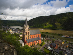 Oberwesel on the Mittelrhein (RobertCross1 (off and on)) Tags: 1250mmf3563mzuiko deutschland em5 europe germany mittelrhein omd oberwesel olympus rhine architecture church city clouds hills landscape medieval river trees urban water
