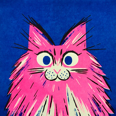 Maine Coon (kolbisneat) Tags: risograph cat siamese russianblue tabby mainecoon angora ragdoll limitedpalette illustration kolbisneat andrewkolb
