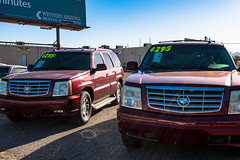 twins (what's_the_frequency) Tags: twins wheels suv cadillac red burgundy wine 4295 westernarizona transportation trucks fortmohave mohavecounty arizona calnevari grille canon g9xii