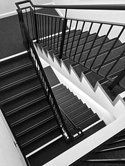 Abstract stairs (LJLJ83) Tags: stairs steps staircase floor top black white bw rails railing look down climb angle abstract floors bars height depth contrast modern building inside rectangle architecture design art 2018 indoors lines