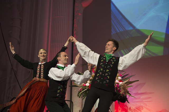 Latvian folk dancers performing