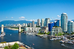 Vancouver (mcgill.alumni) Tags: travel homeownership tourism lookingatview downtowndistrict marina granvilleisland skyscraper scenics waterfront white blue englishculture famousplace lifestyles outdoors highangleview vancouvercanada britishcolumbia canada sunset day island landscape cloudsky stream water apartment hotel street parkmanmadespace bridgemanmadestructure builtstructure harbor district urbanskyline cityscape city granvillestreet