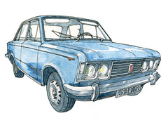 Soissons, Fiat 125, 1968 (gerard michel) Tags: auto ancêtre fiat sketch croquis aquarelle watercolour