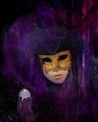 Come...See.... (margotd2) Tags: carnevale venezia purple mask crystal ball painted photoart hat face person