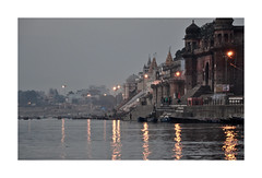 Spiritual Places - India- The Ganges (3) (The Spirit of the World ( On and Off)) Tags: morning earlymorning twilight mystical reflections lights old muslim hindu religions religious burial cremations river sacred holy historical india varanasi asia ganges famous shoreline