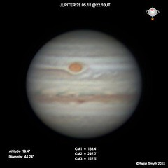 Jupiter 28.05.18 @22.10UT (Ralph Smyth) Tags: jupiter northequatorialbelt neb grs greatredspot zwo290mm 290mm
