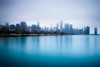 Blue/Gray Chicago (oliverstarks) Tags: chicago cold fog clouds blue gray longexposure lakemichigan water reflection illinois skyline architecture america city buildings