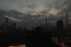 Dawn peeks out behind Pudong. (Frankenstein) Tags: shanghai pudong dawn