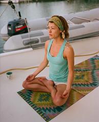 yoga on a catamaran (Keegan L) Tags: catamaran pentax67 film analog portra sailing yoga portrait kodak caribbean 120mm mediumformat holistic meditation